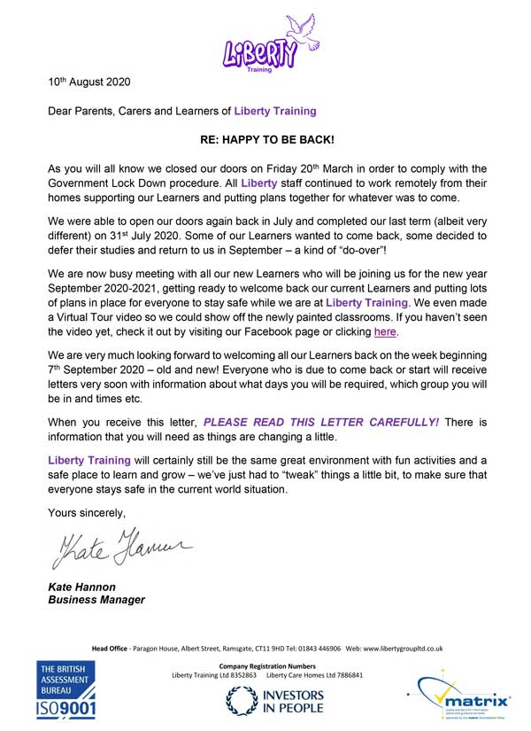 Welcome September Learners Letter